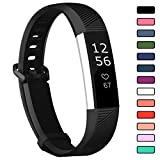 VINIKI Sport Watch Bands Compatible with Fitbit Alta HR Soft Water Proof Fitness Straps for Women Men (Black, Small)