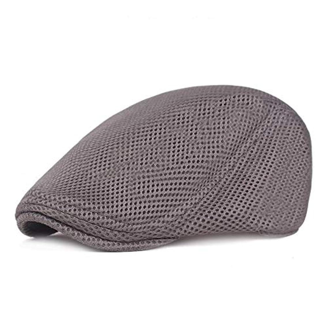 メッシュ ハンチング キャップ 夏用 綿 ベレー帽 調整可能ワークキャップ アウトドアキャップ 男女兼用