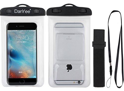 Danyee® 「安心交換保証付」 防水ケースIPX8取得 iPhone6/6s/6splus/5s/Samsung Galaxy/Nexus/Xperia等6インチまで全機種対応 防水 海 プール お風呂 ポーチ スマホケース(PCV-クリア)