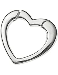 925 Sterling Silver Heart Interchangeable Pearl Necklace Enhancer Shortener Spring Clasp