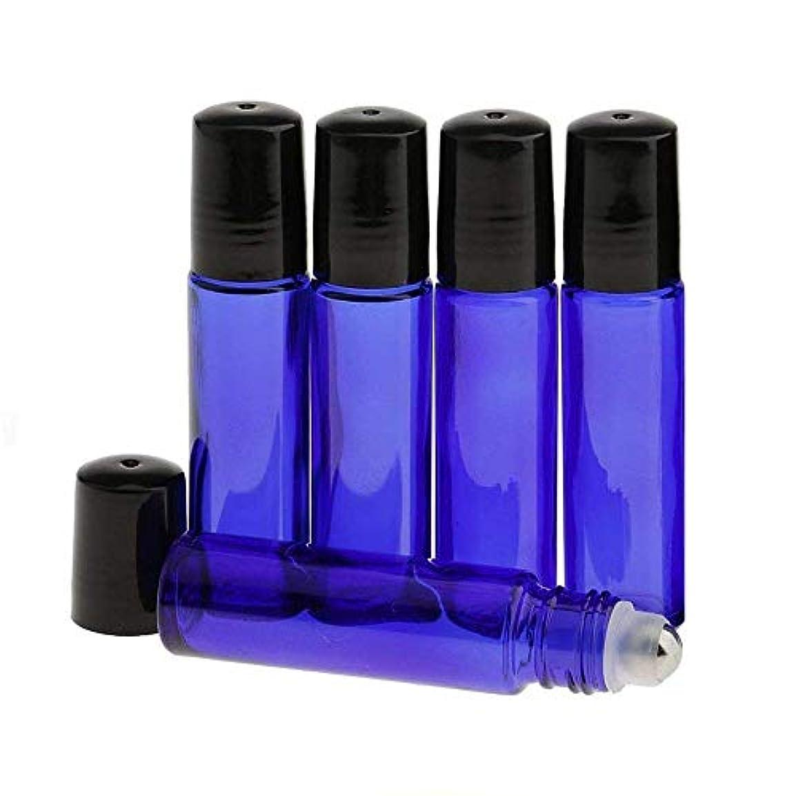 として飛行場体系的に360MALL ロールオンボトル 遮光瓶 アロマオイル 化粧水 香水 精油 小分け用 ガラスロールタイプ (ブルー) (5本セット)