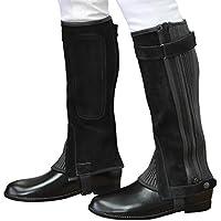 乗馬用ハーフチャップス 黒ブラック 本革スエード レザー本皮 ふくらはぎ伸縮 Klaus KB