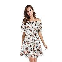 女性の服装 セクシー ドレス ワンワードカラー 半袖 印刷 ドレス ビーチドレス (色 : A, サイズ さいず : L l)