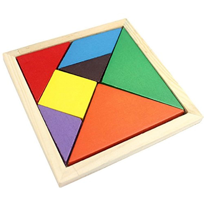 子供教育玩具カラフルな木製BrainトレーニングジオメトリTangramパズルwith手動