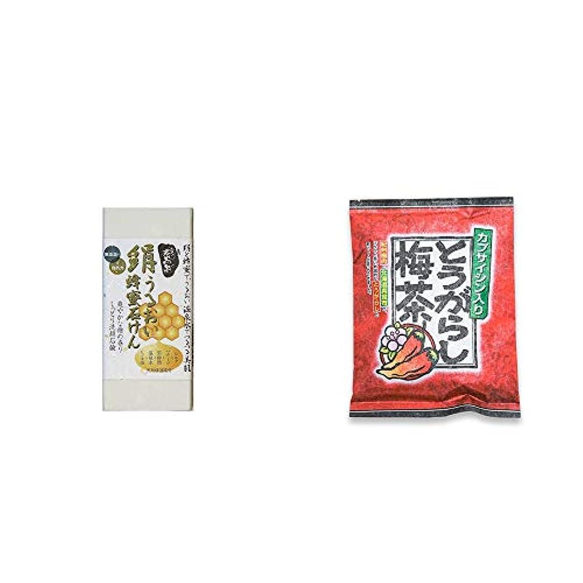 専門知識偏差パイル[2点セット] ひのき炭黒泉 絹うるおい蜂蜜石けん(75g×2)?とうがらし梅茶(24袋)