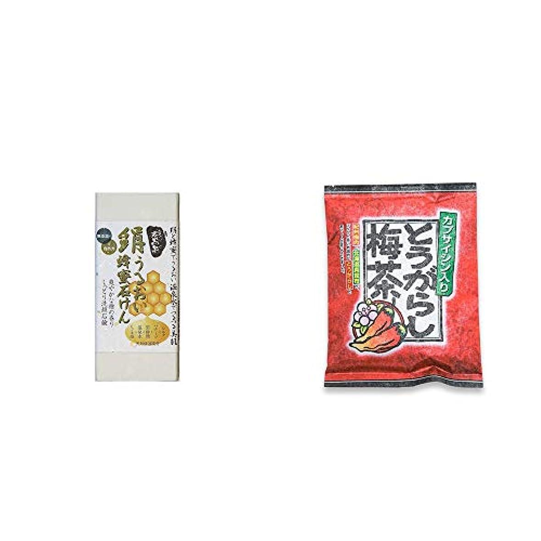 考古学者ブランド名キャラクター[2点セット] ひのき炭黒泉 絹うるおい蜂蜜石けん(75g×2)?とうがらし梅茶(24袋)