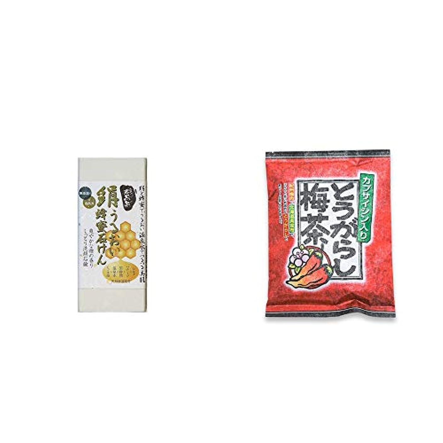 千塩ダウンタウン[2点セット] ひのき炭黒泉 絹うるおい蜂蜜石けん(75g×2)?とうがらし梅茶(24袋)