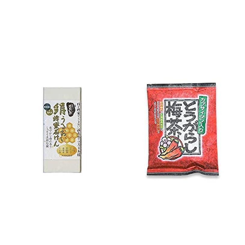 定期的にラップ共産主義[2点セット] ひのき炭黒泉 絹うるおい蜂蜜石けん(75g×2)?とうがらし梅茶(24袋)