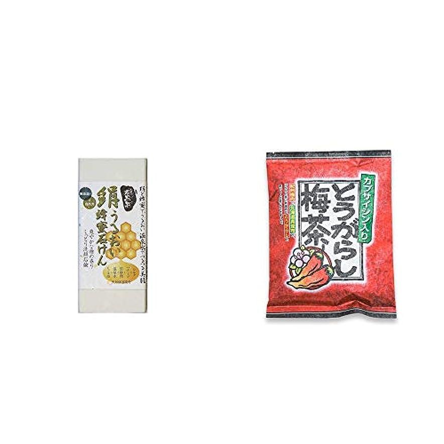 啓発する融合エンターテインメント[2点セット] ひのき炭黒泉 絹うるおい蜂蜜石けん(75g×2)?とうがらし梅茶(24袋)