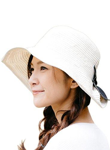 オフホワイト (オリエントハット)Orient Hat ペーパー ニット キャペリンハット レディース UVカット つば広 つば広ハット クロッシェハット カプリーヌハット 麦わら帽子 ハット 女優帽 中折れ 帽子 サファリハット ストローハット ペーパーハット AOR016S-f-O/WH2