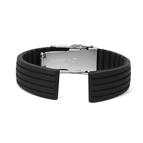 時計バンド 交換ベルト シリコンゴム 腕時計ストラップ 防水16mm 縦シマ ブラック