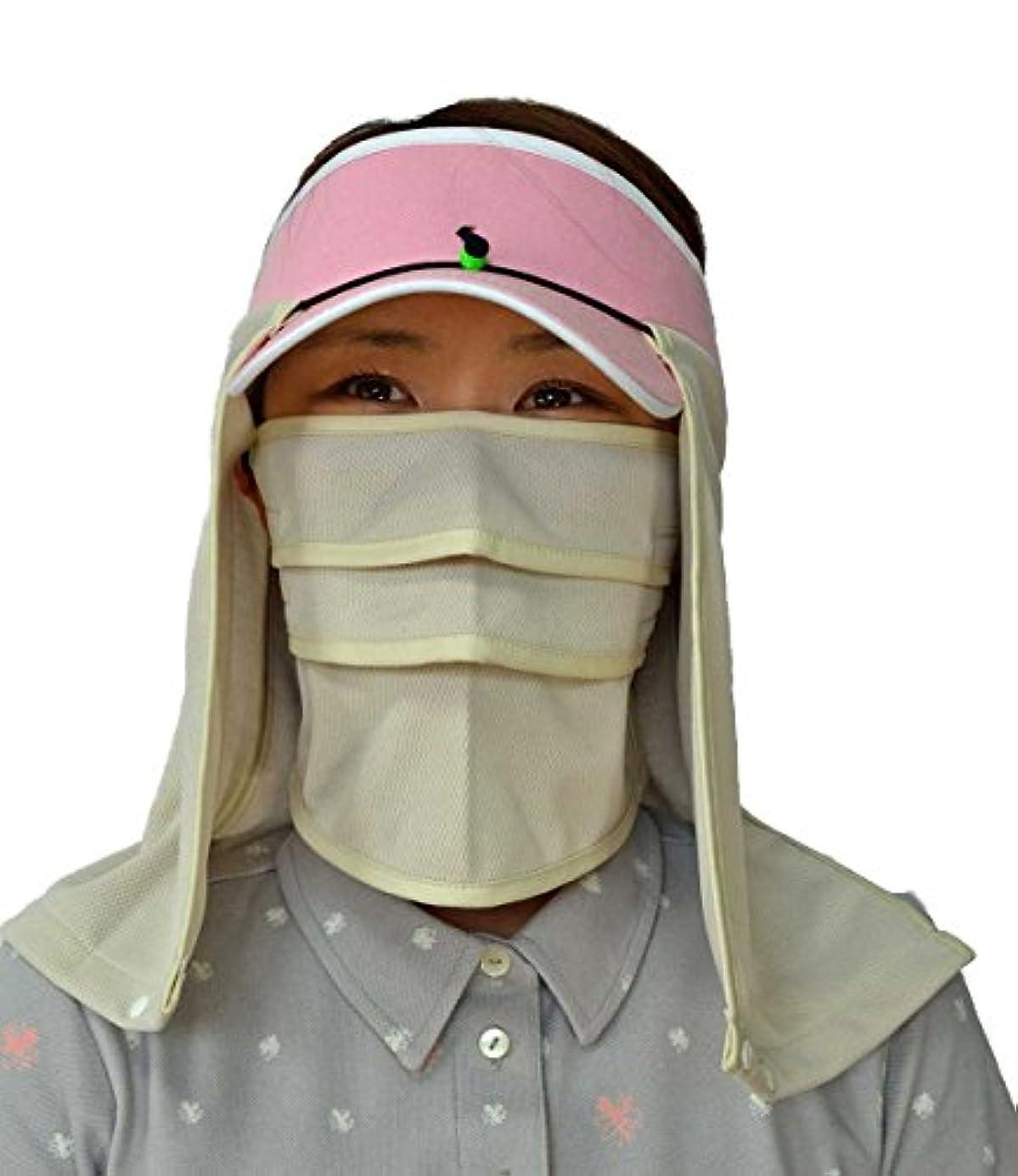 楽観的誇りに思う女優UVスポーツマスク?マモルーノ?とUV帽子カバー?スズシーノ?のセット(ベージュ)【◆テニスの練習や試合、ゴルフのラウンド、ウオーキング、ジョギング、スキー等、スポーツの際の紫外線対策、日焼け防止に!】