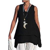 Women Irregular Linen Sleeveless Double Layer Swing Tank Top