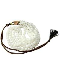 ホワイト瑪瑙ネックレス01ラウンドビーズ高振動Spiritualエネルギー(ギフトボックス)