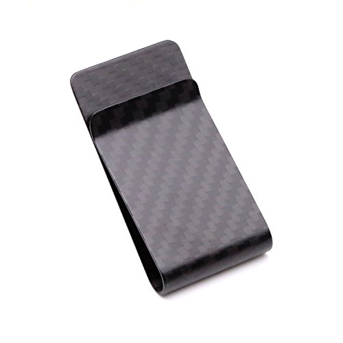 [Kinzd] カーボンマネークリップ 財布 お札と紙幣収納 メンズ スタイリッシュ (ブラック1)