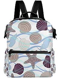 cc5902f4b1d8 旅立の店 リュックサック バックパック 貝殻 シェル柄 リップル ポリエステル+レザー ファッション