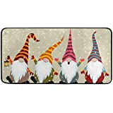 """Kitchen Rugs Christmas Card with Gnomes Design Non-Slip Soft Kitchen Mats Bath Rug Runner Doormats Carpet for Home Decor, 39"""""""