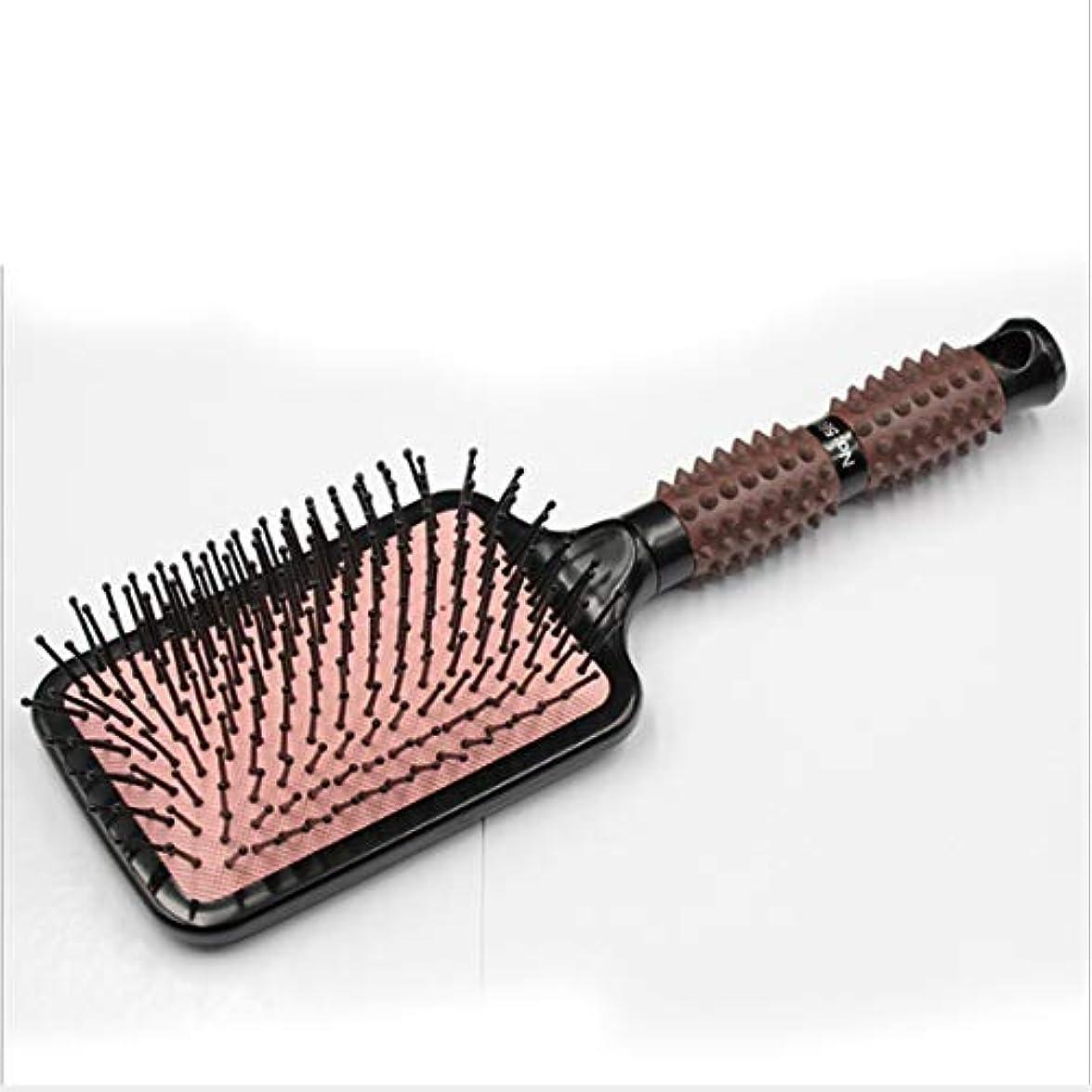 城快い敷居(黒)マッサージくしの髪と頭皮 - 濡れた髪と乾いた髪のための矯正&スムージング用ヘアブラシ ヘアケア (Design : Square)