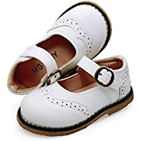 Baby Toddler Girls Mary Jane Flats Soft PU Leather Non-Slip Rubber Sole First Walkers Child School Uniform Outdoor Baptism Church Oxford Dress Shoes (Toddler/Little Kid)