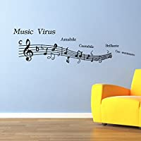 Zooarts 音楽 楽譜 英語のアルファベット 取り外し可能な ウォールステッカー 壁デカール 壁紙