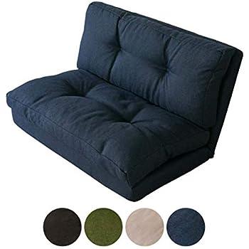 アイリスプラザ ソファ ベッド 座椅子 3WAY 折り畳み 2人掛け ネイビー 幅約90cm CG-4Aー90-FAB