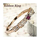 LUIRE ルビー W・リボンリング k18PG 指輪 プレゼント 誕生日 記念日 婚約指輪