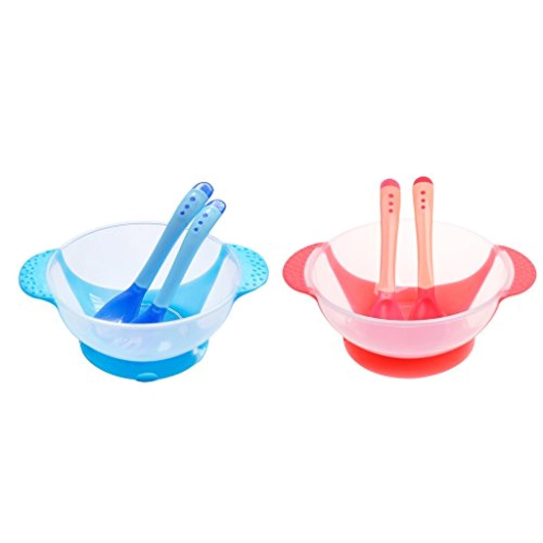Baosity 赤ちゃん 食器 ボウル フォーク 感温スプーン 吸盤付き サクション 耐熱性 転倒防止
