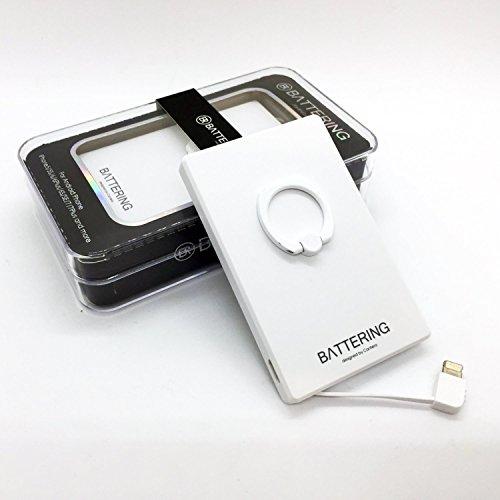 CANTERA バッテリング 2500mAh モバイルバッテリー 充電器 USB 充電 ケーブル内蔵 軽量 バンカーリング スマホリング 薄型 / アンドロイド iPhone 8 X plus 5 6 7 アイコス グロー プルームテック(ホワイト)