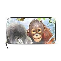 猿 長財布 財布 ラウンドファスナー 北欧 ギフト プレゼント PU レザー 大容量 通学 通勤 旅行