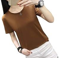 Qiangjinjiu 女性ラウンドネック半袖Tシャツブラウス 3 M