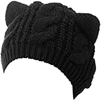 Choies Women's Acrylic Cat Ears Knit Black Beanie Hat