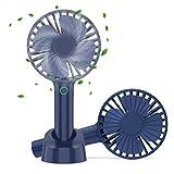 携帯扇風機 【2019年最新】手持ちUSB扇風機 充電式 「2in1機能搭載」 USB扇風機 2500mAhモバイルバッテリー内蔵 折り畳みスタンド機能 最大12時間動作 4段階風量調節 卓上扇風機 ハンディファン グリップ扇風機 4枚羽根 超静音 USBファン ミニ 小型 熱中症 暑さ対策 オフィス アウトドア用 【PSE認証済】 (濃いブルー)