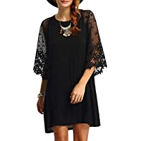 Romacci Women Loose Dress Sheer Lace Cut Out 3/4 Sleeve Casual Short Dress Solid Mini Dress Plus Size Vestidos