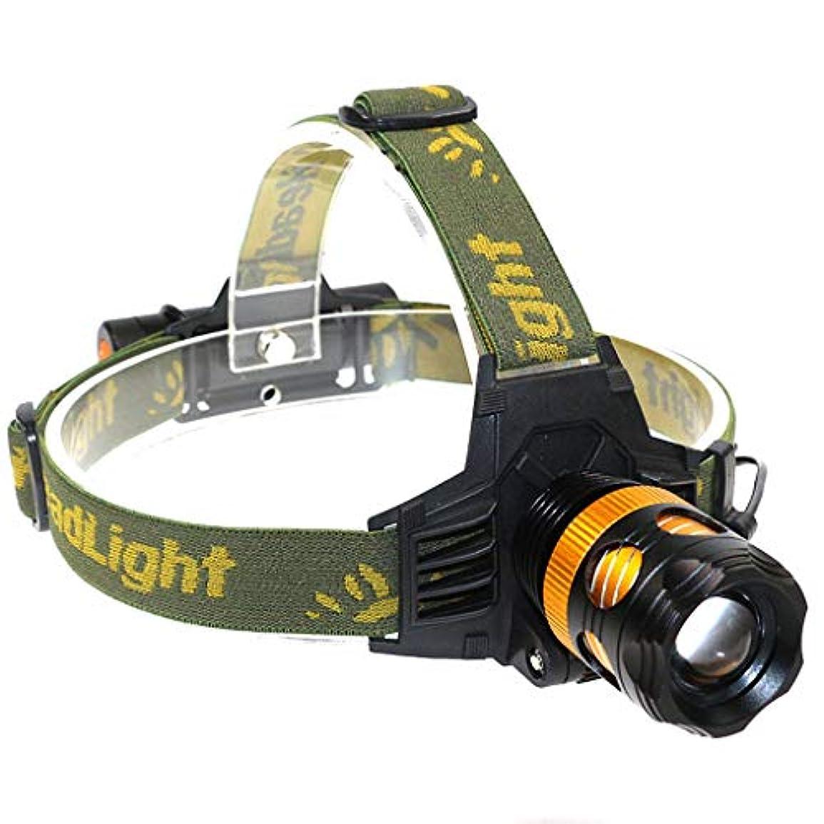 圧縮されたチーター塩辛い1つの懐中電燈のヘッドライトに付き2つT6まぶしさLED釣りヘッドライトヘッドマウント照明回転機械充電式ヘッドライト