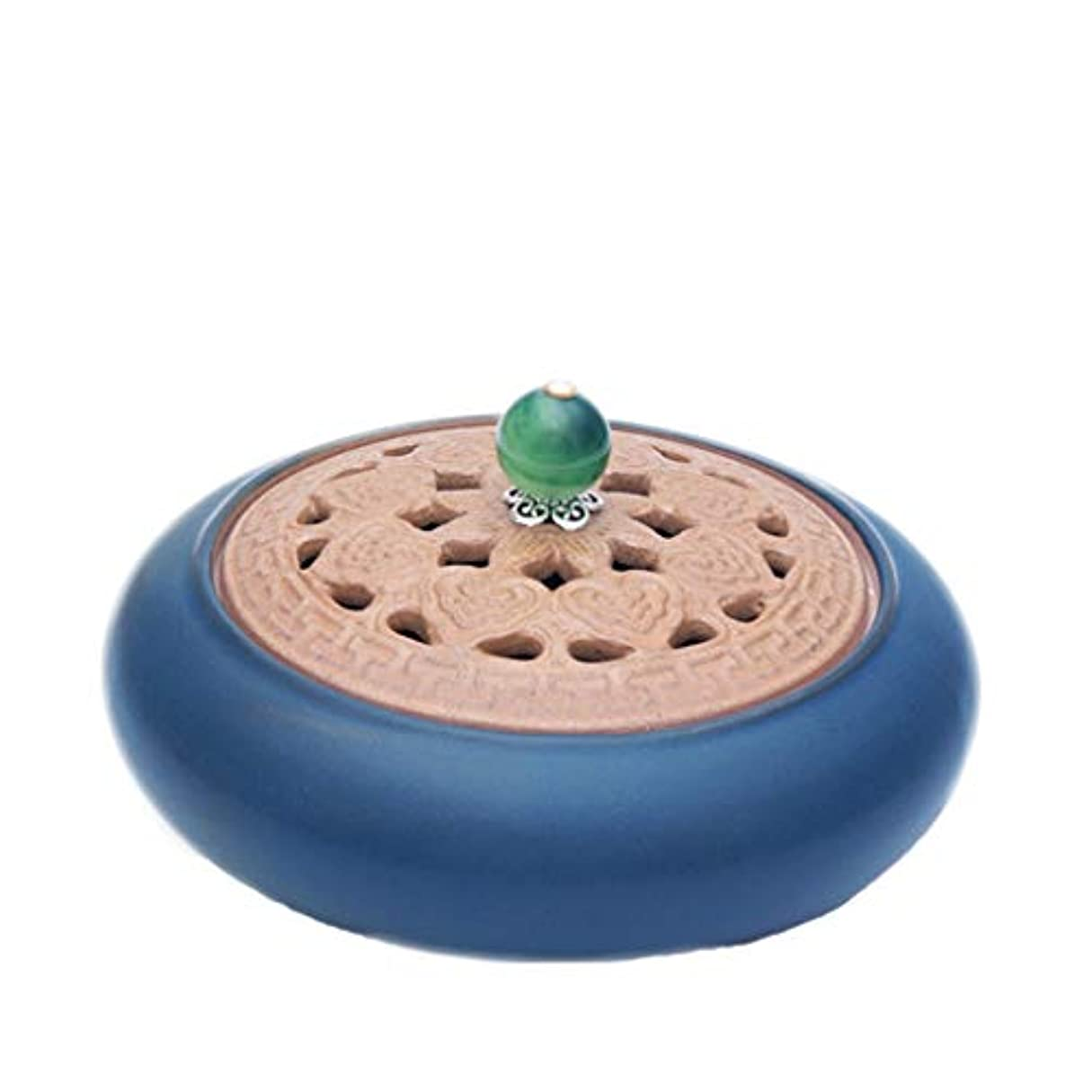 ディレイ王位バースト芳香器?アロマバーナー アンティークセラミック小さな香バーナーホームインドアガーウッドハース香純粋な銅白檀炉アロマテラピー炉 アロマバーナー (Color : Green)