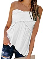 Sodossny-JP Women Tube Tops Stretch Long Bandeau Solid Strapless Shirt Sleeveless Blouse White XS
