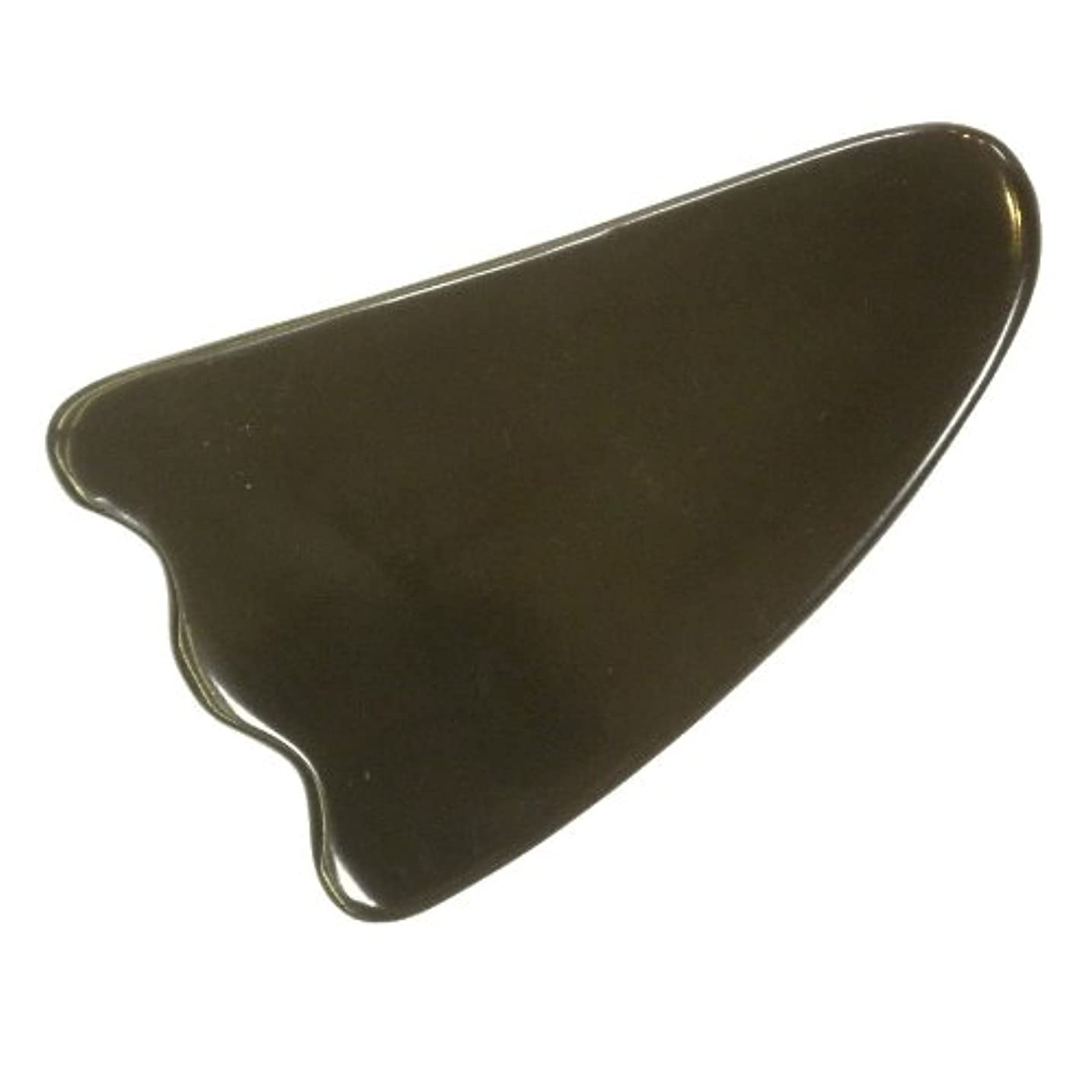 略す控えめな表面かっさ プレート 厚さが選べる 水牛の角(黒水牛角) EHE213SP 羽根型 特級品 厚め(7ミリ程度)