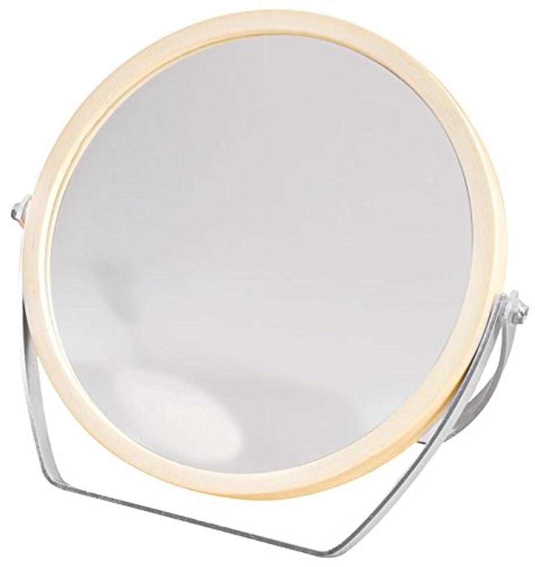 媒染剤匿名観察するウッドフレーム 2WAY 5倍拡大鏡付 両面 卓上ミラー (ロースタンドタイプ) ナチュラル YWM-1