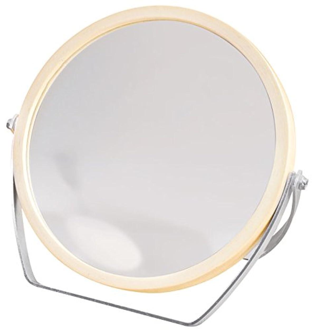 しばしばウルル月面ウッドフレーム 2WAY 5倍拡大鏡付 両面 卓上ミラー (ロースタンドタイプ) ナチュラル YWM-1