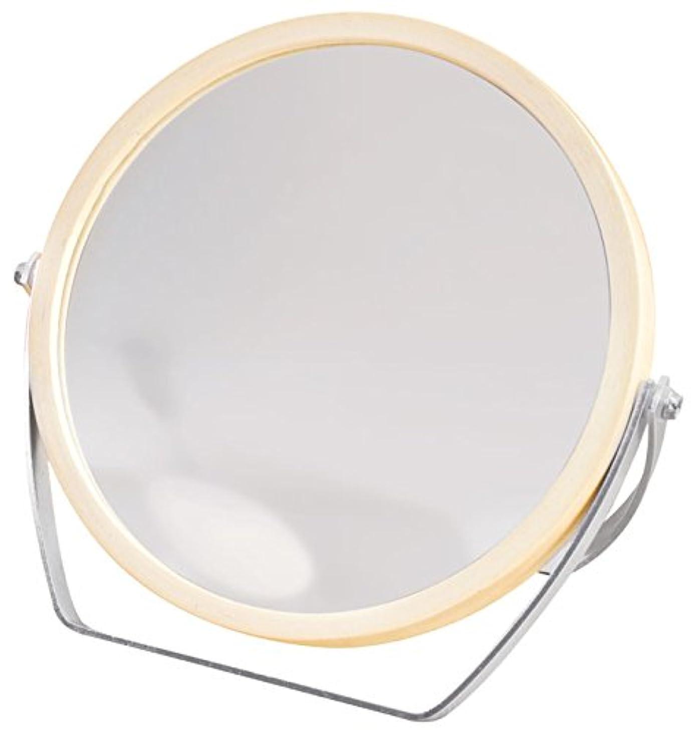 眠いですチップ試みウッドフレーム 2WAY 5倍拡大鏡付 両面 卓上ミラー (ロースタンドタイプ) ナチュラル YWM-1