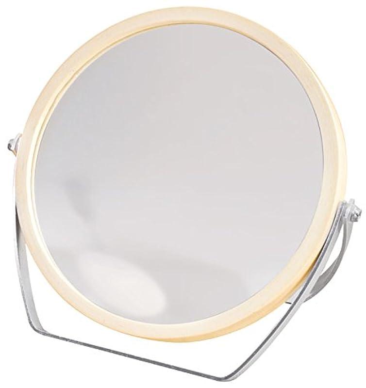 包帯きちんとした請求可能ウッドフレーム 2WAY 5倍拡大鏡付 両面 卓上ミラー (ロースタンドタイプ) ナチュラル YWM-1