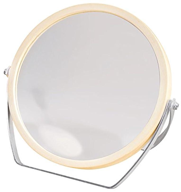 発明する特徴慣らすウッドフレーム 2WAY 5倍拡大鏡付 両面 卓上ミラー (ロースタンドタイプ) ナチュラル YWM-1