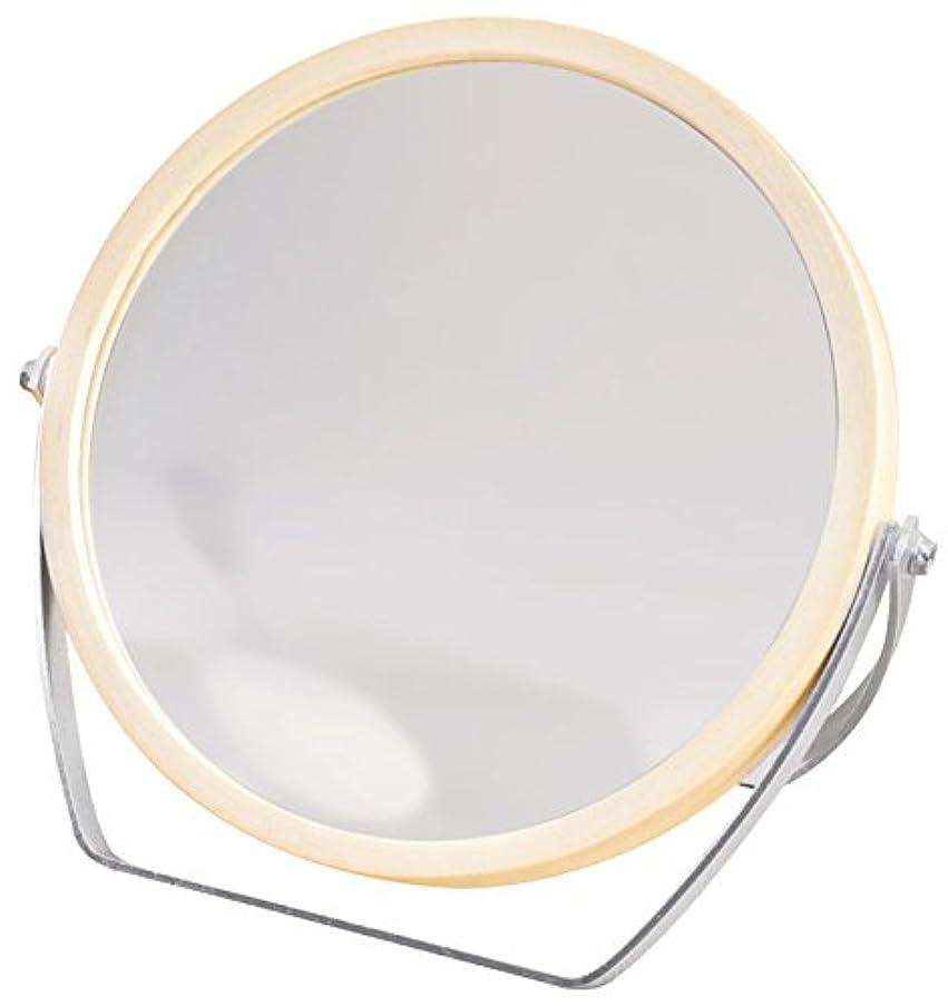 スポンサーデクリメント薬ウッドフレーム 2WAY 5倍拡大鏡付 両面 卓上ミラー (ロースタンドタイプ) ナチュラル YWM-1