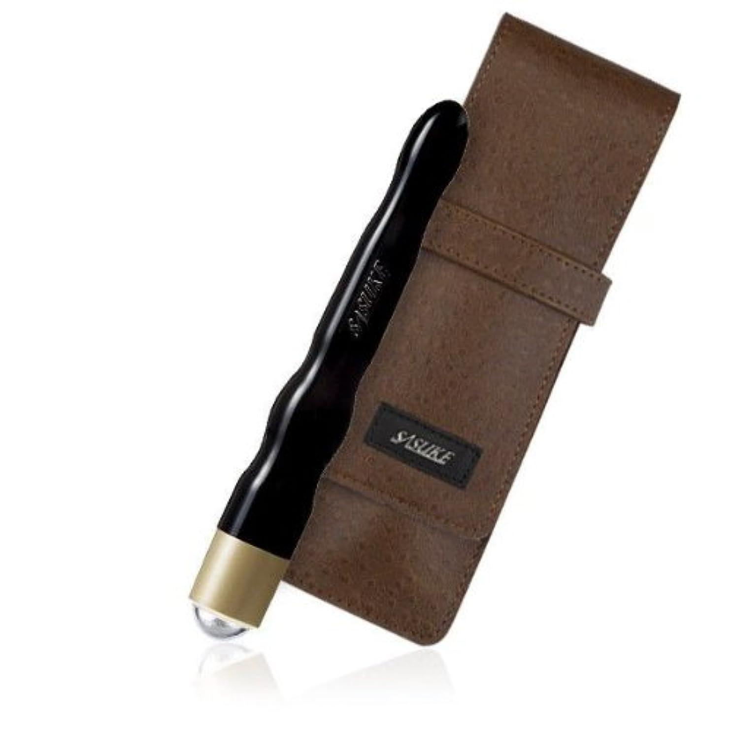 褐色五切手SASUKE ツボ押しローラー (ピアノブラック)+専用ケース(クラッシックブラウン)セット
