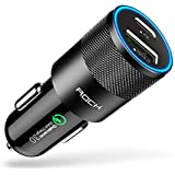 Rock 36W QC3.0 Dual USB PD Car Charger, USB-A and USB-C Type C, with Quick Charge 3.0(QC3.0), Black