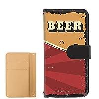 PU手帳型 カードタイプ AQUOS R compact (SHV41・701SH・SH-M06) [BEER ビール・レッド] ビンテージ アメリカン レトロ USA アクオス アール コンパクト スマホケース 携帯カバー [FFANY] beer-191@04c