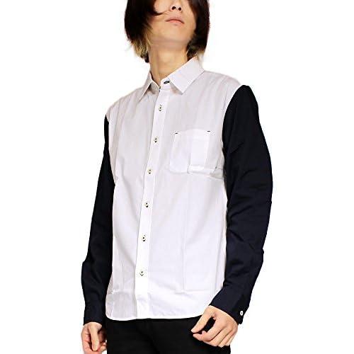 袖 切替 デザイン ブロード 長袖シャツ メンズ L ホワイト