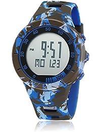 OHSEN 腕時計アウトドアデジタル表示LED曜日表示多機能[ブルー]