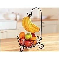オシャレ シンプル バナナ ツリー フルーツ バスケット スタンド お菓子入れ アイアン製 (ブロンズ)