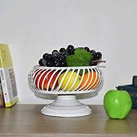 SLH フルーツプレートクリエイティブファッション現代シンプルフルーツバスケットリビングルームドライフルーツキャンディフルーツポットキッチンクッキーラック (Color : White)